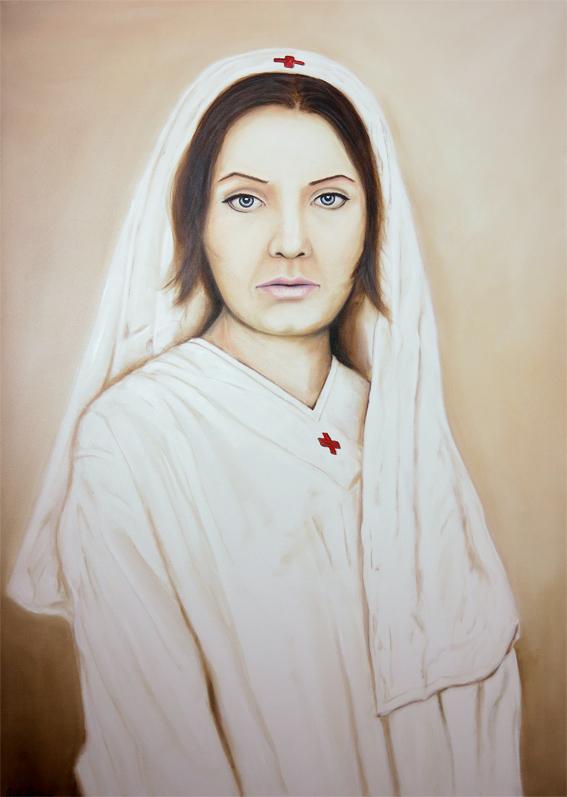 Krankenschwester 140 x 100 cm Öl auf Leinwand 2015k