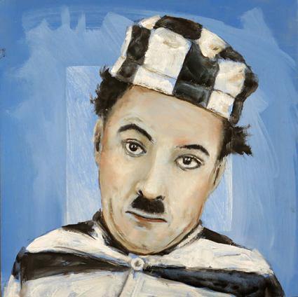 Charlie Chaplin - 15 x 15 cm Öl auf MDF 2015k