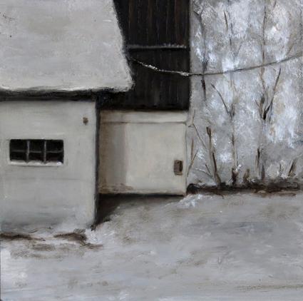 Hinterhof - 15 x 15 cm Öl auf MDF 2015k